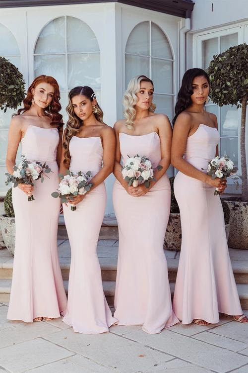 Simple Pale Pink Mermaid Strapless Sleeveless Floor-length Long Satin Bridesmaid Dresses