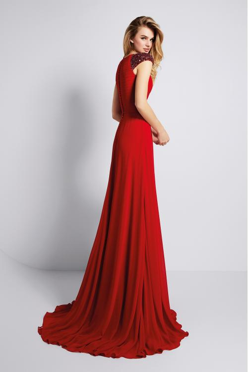 Sequins V Neck A-line Red Chiffon Prom Dress with Cap Sleeves