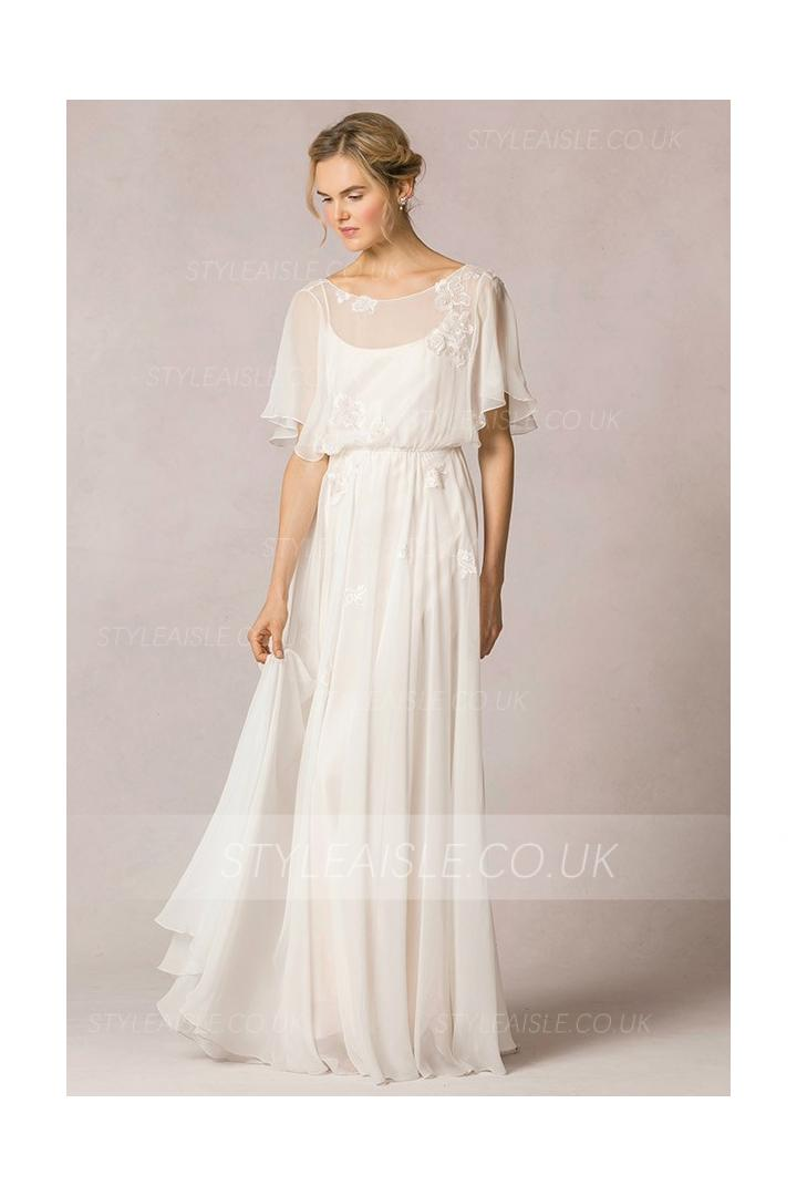 Casual Flutter Sleeved Lace Decorated Chiffon Vintage Wedding Dress