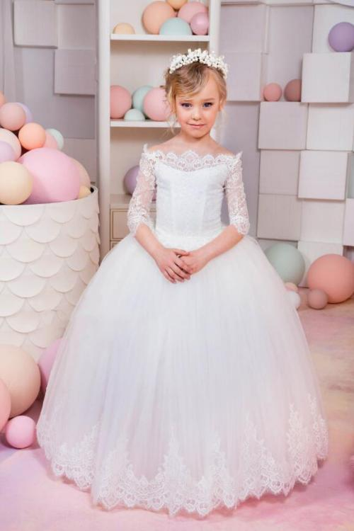 Princess Off-the-shoulder Half Sleeve Lace Floor-length Long Tulle Flower Girl Dresses