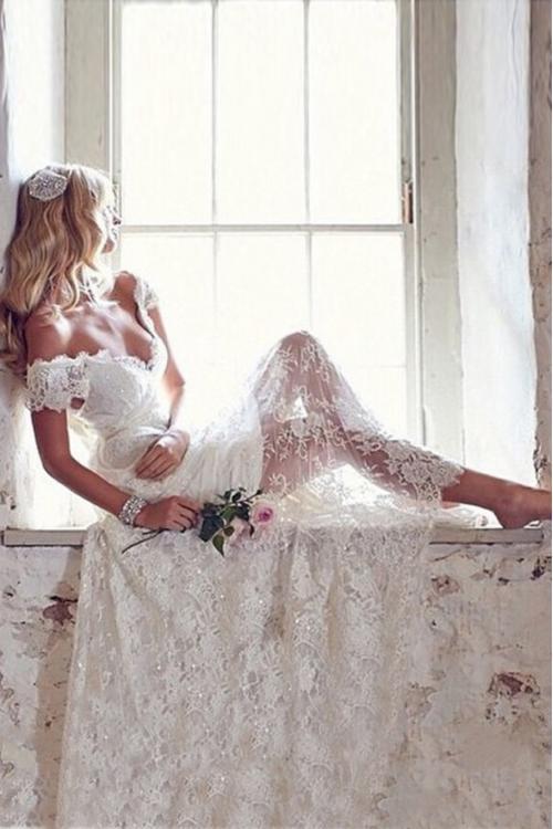 Charming Off the Shoulder Sheath Long Lace Wedding Dress