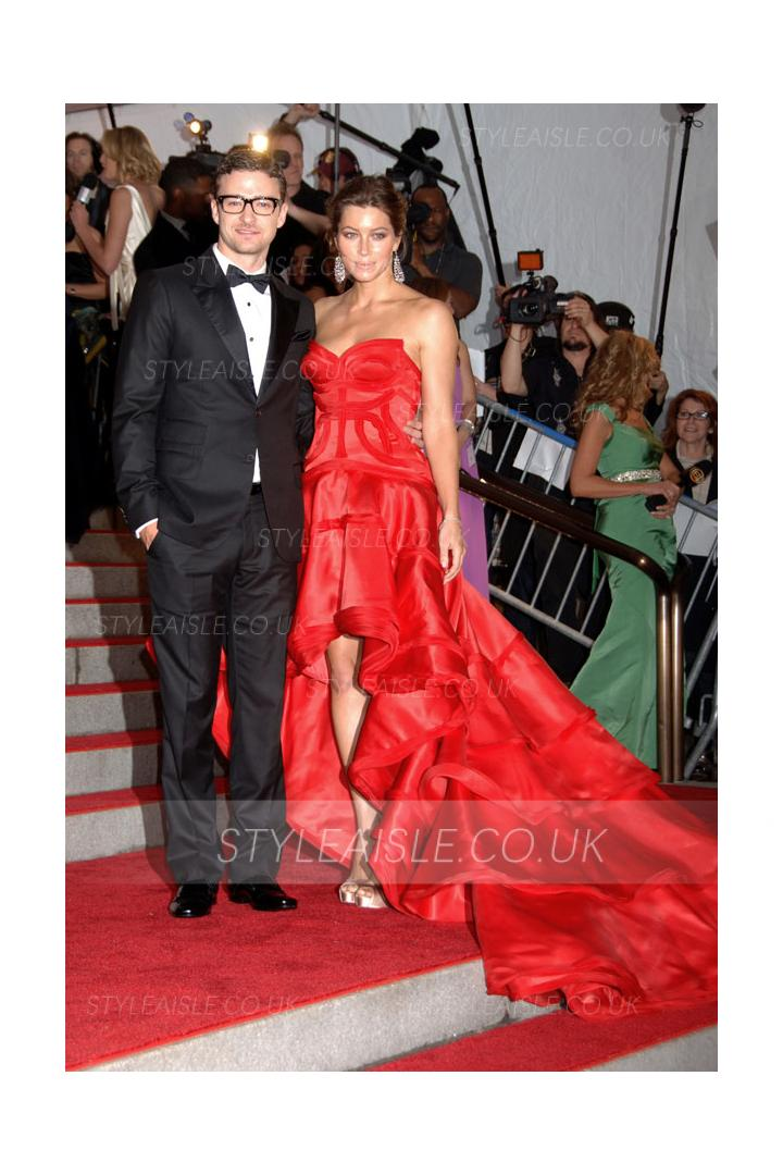 2009 Met Ball Red Carpet Red High Low Ruffles Prom Dress