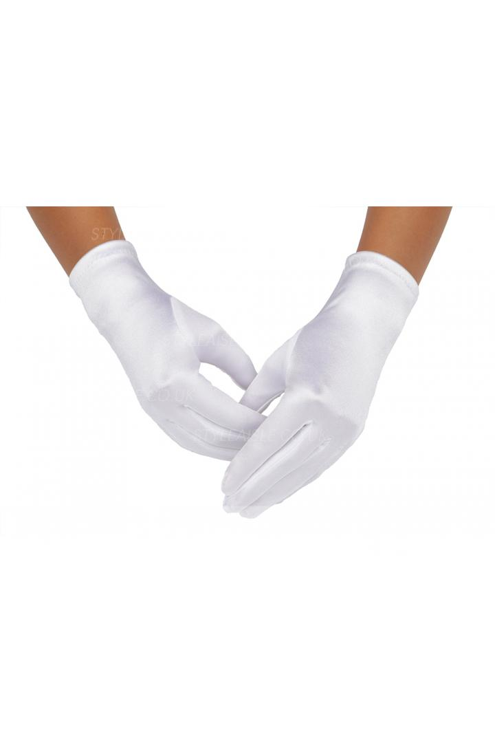 White Short Strentch Satin Dresss Up Gloves For Girls 2BL
