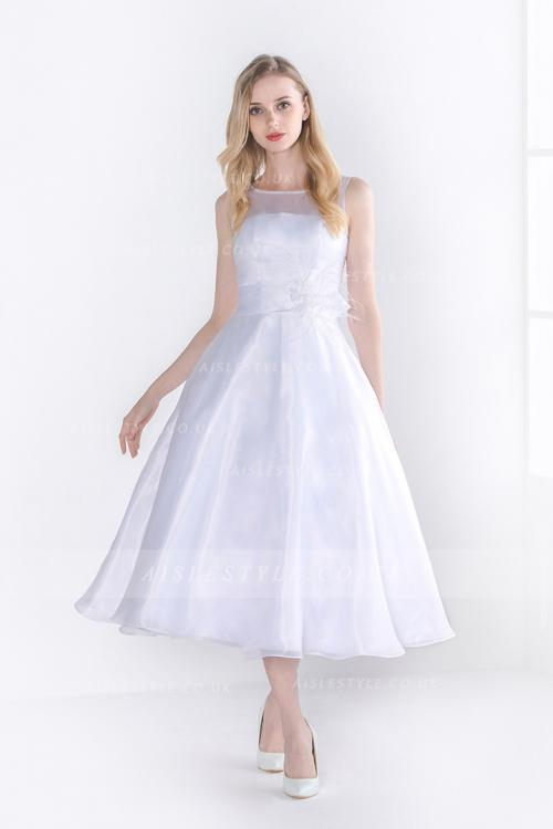 Sleeveless Illusion Neck A-line Tea Length White Organza Wedding Dress with Feather