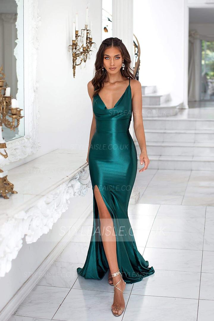 Sheath/Column V-neck Sleeveless Split Sweep Train Long Charmeuse Evening Dresses