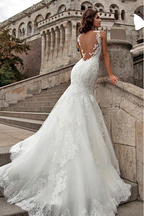 Vintage Inspired Illusion Neck Sheer Open Back Long Fit Flared Lace Organza Wedding Dress