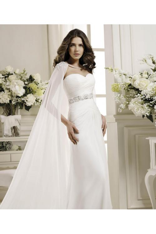 Simple Sheath/Column Sweetheart Beading Sweep/Brush Train Chiffon Wedding Dresses