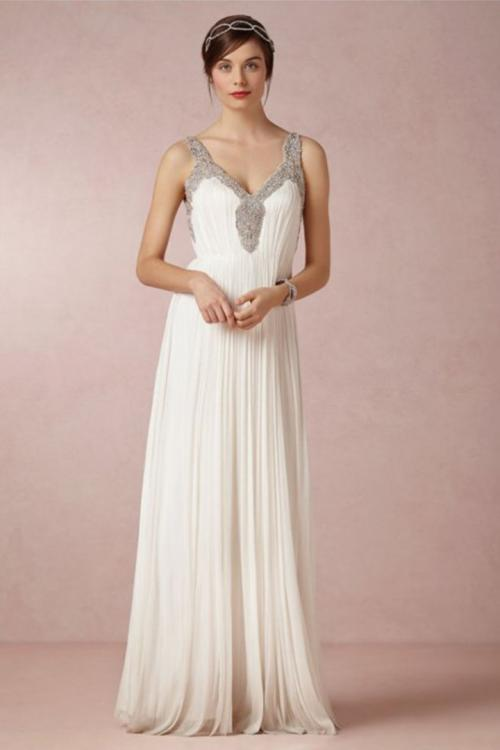 A-line Shoulder Straps Sleeveless Beading Ruching Floor-length Long Chiffon Wedding Dresses with Open Back