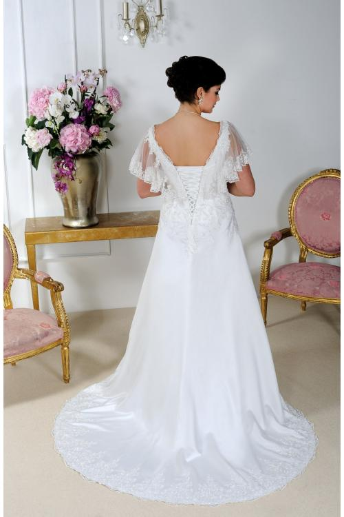 Plus Size V-neck Short-Sleeve Lace-up Beaded Satin Wedding Dress with Lace Appliques
