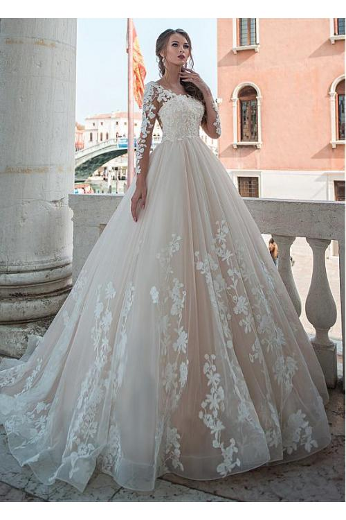 Beautiful Illusion Neck Ball Gown Long Sleeves Lace overlay Tulle Wedding Dress