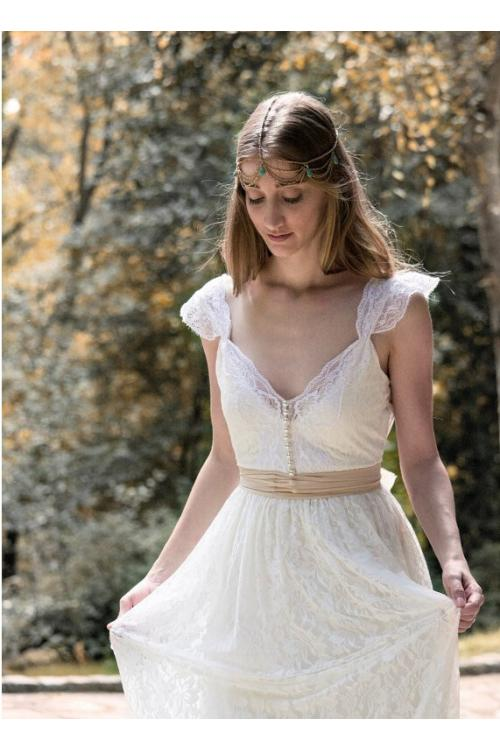 Boho Queen Anne Neck Cap Sleeved Lace Pattern Wedding Dress with Ribbon