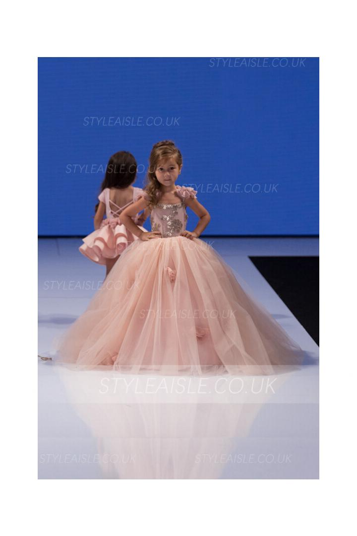 Romantic Sequin Bodice Hand Made Flowers Ball Gown Pink Tulle Flower Girl Dress