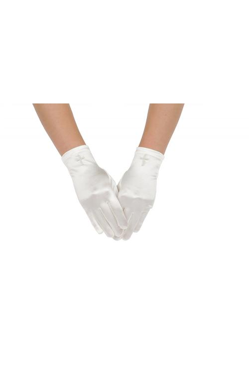 Long White Satin Pearl Communion Wedding Gloves