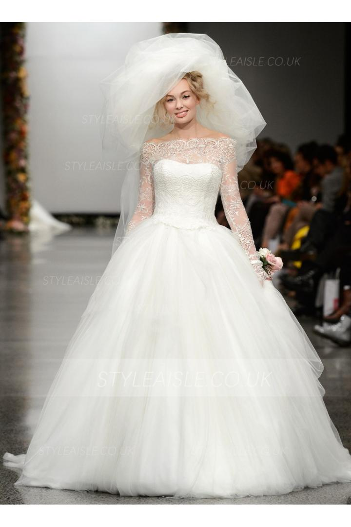 theshoulder Ball Gown Tulle Wedding Dress with Long Lace Sleeves