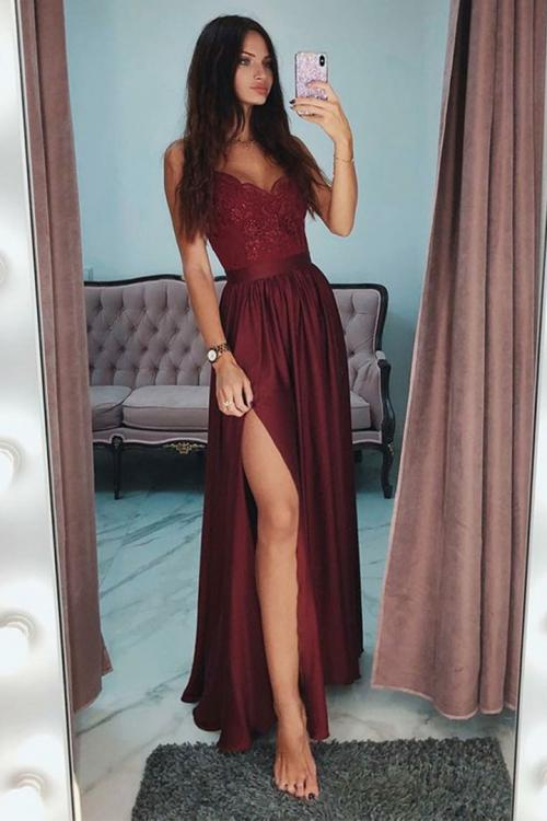Spaghetti Straps Sleeveless Split Floor-length Long Chiffon Prom Dress