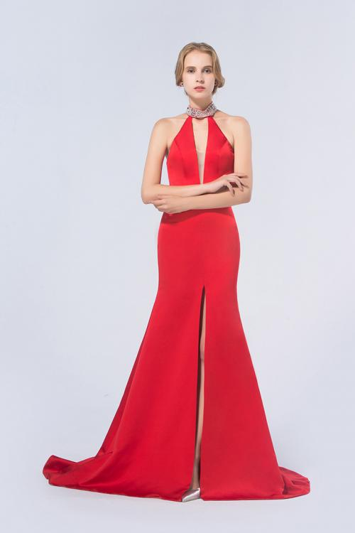 Red Sheath Jewel Sleeveless Beading Split Long Red Prom Dress