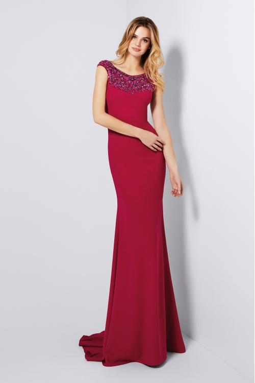 Sparkly Beaded Long Sheath Red Jersey Prom Dress with Cap Sleeves