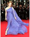 Cannes Jessica Chastain Long Sleeveless Split Long Regency Chiffon Prom Dress with Ribbon