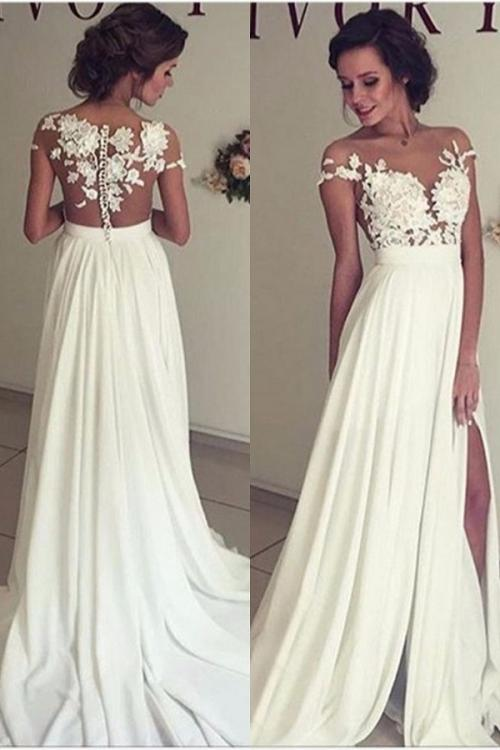 Chic Boho Lace Appliques A-line Long White Chiffon Wedding Dress