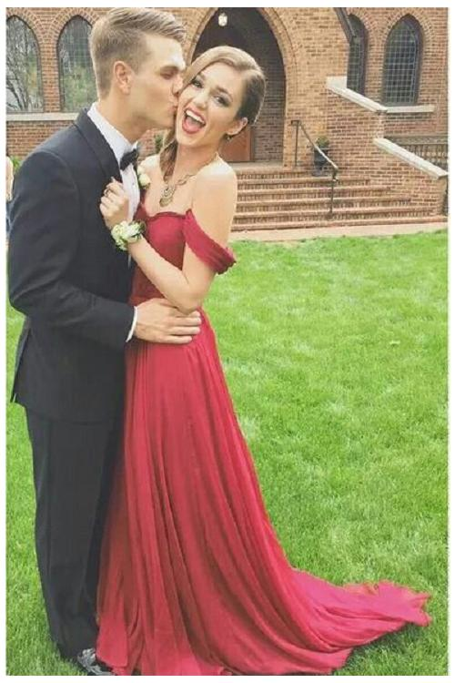Popular off the Shoulder Pleated Long Ruvy Red Chiffon Prom Dress