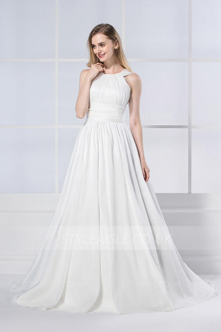Simple Vintage Shoulder Straps Pleated Long Chiffon Wedding Dress