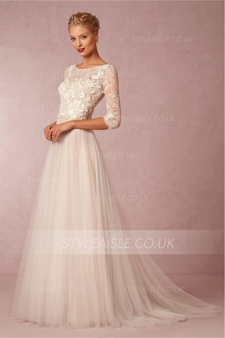 Vintage Bateau Neck Long Illusion Sleeved Lace Bodice A-line Tulle Wedding Dress