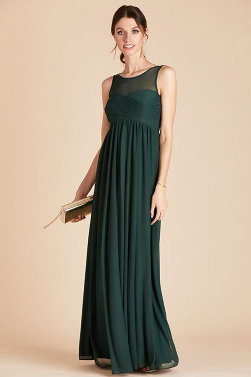 A-line Bateau Neck Sleeveless Ruching Empire Waist Floor-length Long Chiffon Maternity Bridesmaid Dresses with Pockets
