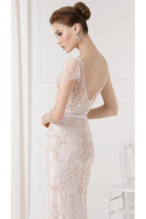 V Neck Cap Sleeved Embroidered Lace ColumnPink Tulle Prom Dress