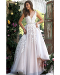 Fancy Sleeveless V Neck Ivory Lace overlay Nude Tulle Long Coast Prom Dress wityh Crystal Ribbon