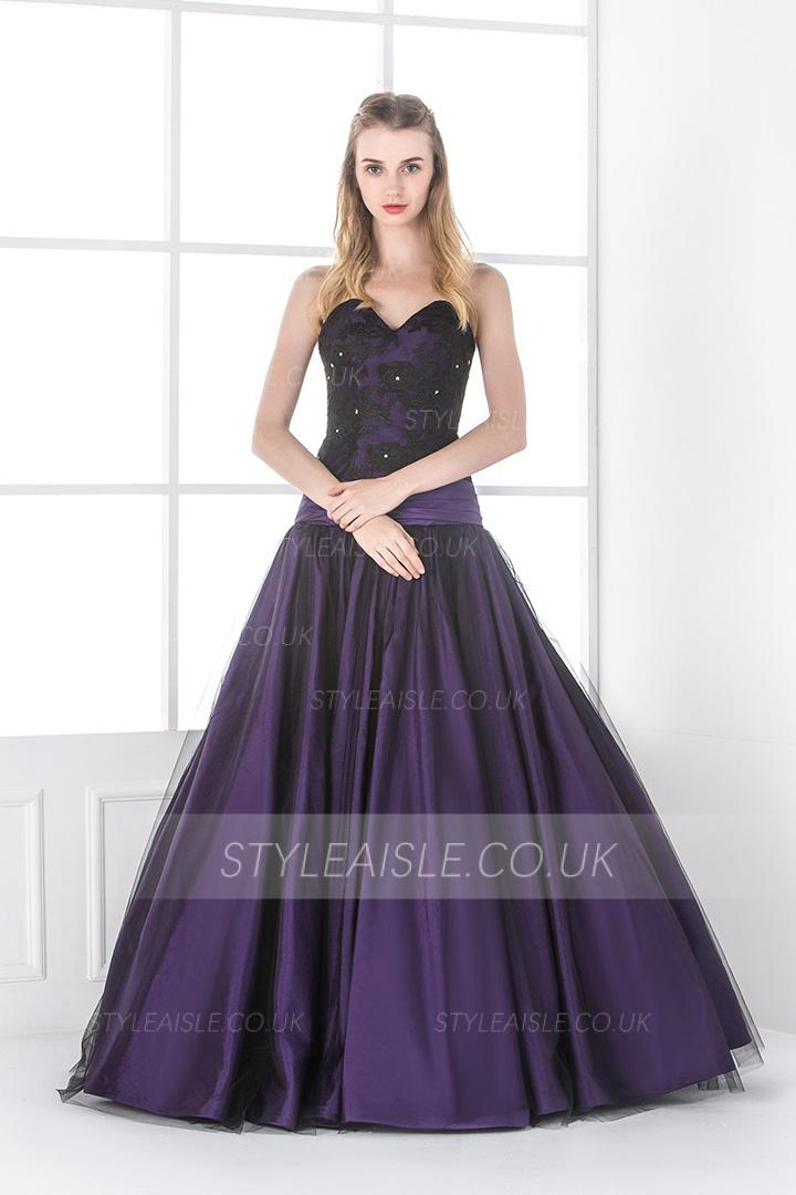 Vintage Inpsired Ball Gown Strapless Lace Long Eggplant Prom Dress