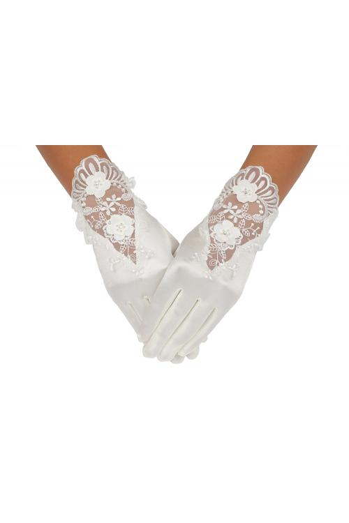 Short Ivory Wedding Gloves With Exquisite Lace Embroider On The Back Of Hand 2BL