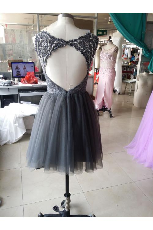Grey Sequin Beading Short Tulle Prom Dress