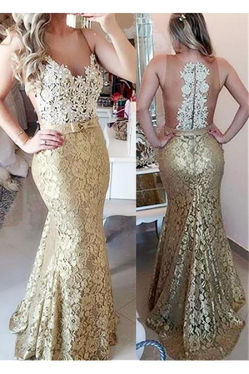 Mermaid Illusion Neck Sleeveless Bow(s) Floor-length Prom Dress