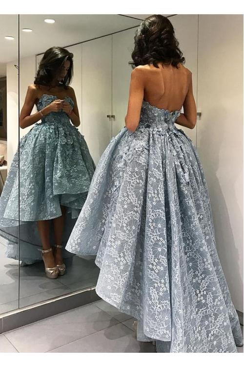 High Low Strapless Sweetheart Lace Short Prom Dress