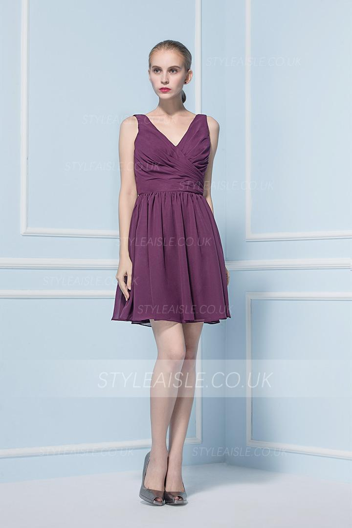 Sleeveless A-line V Neck Short Chiffon Bridesamid Dress