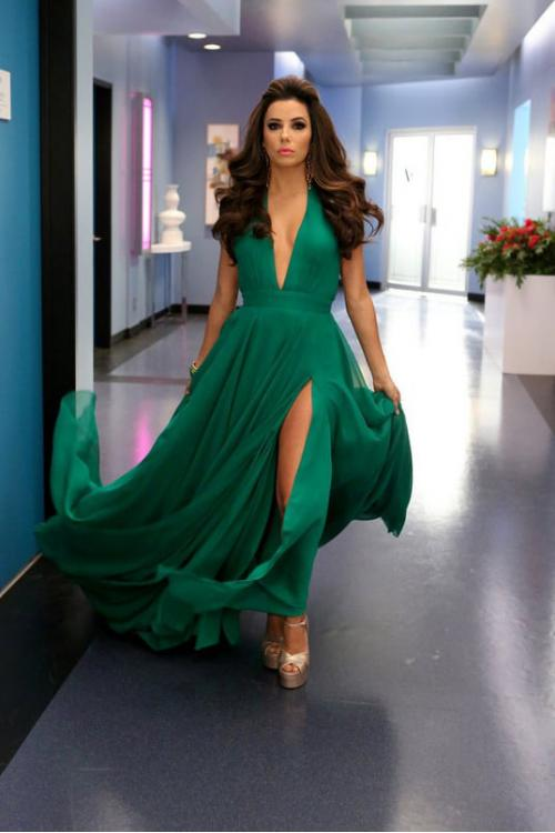 Sexy Simple Split Long Emerald Chiffon Prom Dress
