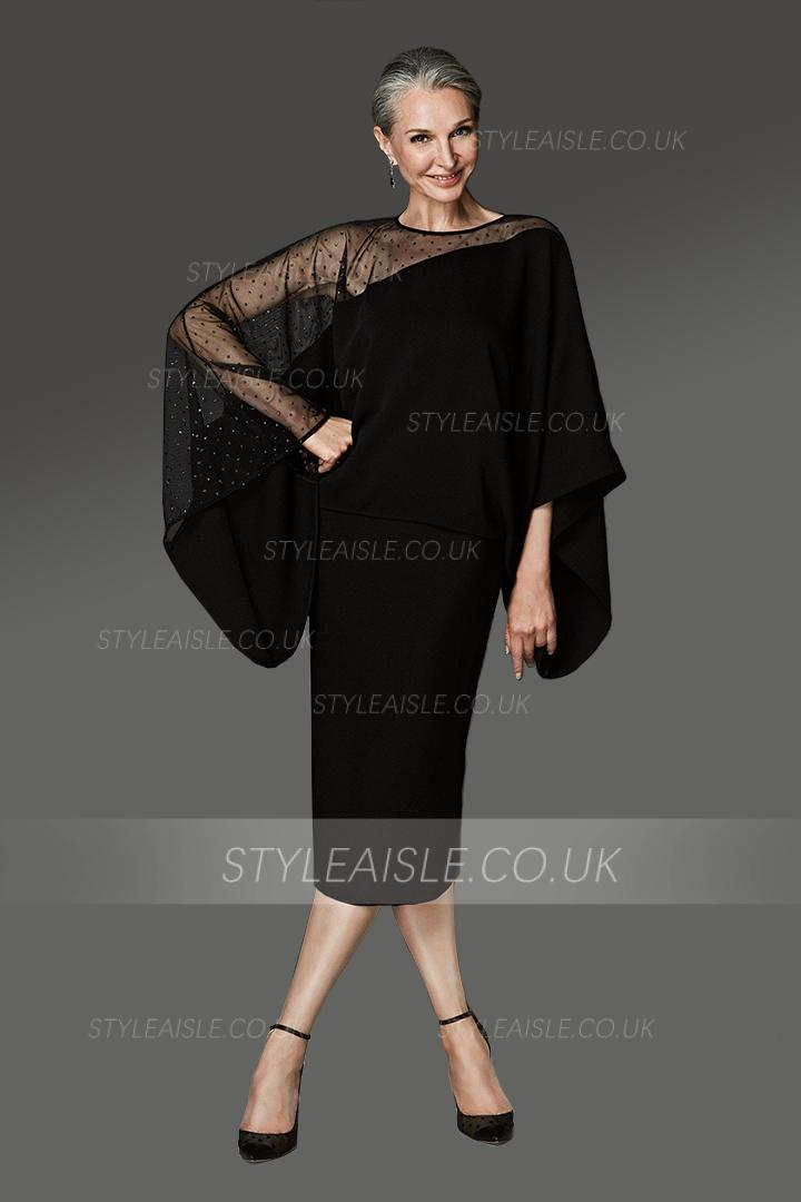 Sheath/Column Jewel Neckline Long Sleeves Beading Tea-length Short Cocktail Dresses with One Illusion Shoulder