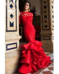 Gorgeous Long Sleeve Lace Bodice Ruffled Satin Mermaid Prom Dress