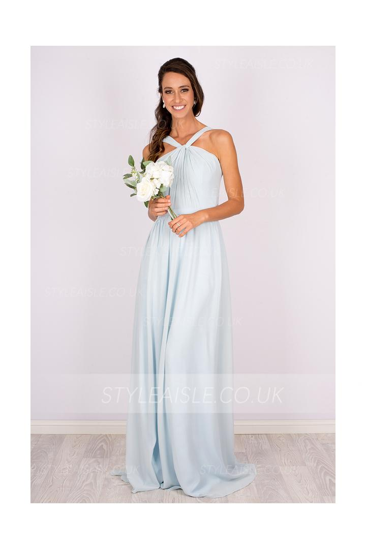 Sleeveless One Shoulder Halter Twisted Long Light Sky Blue Chiffon Bridesmaid Dress