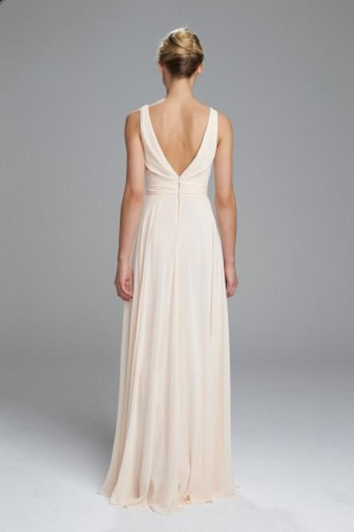 Sleeveless V Back Long Nude Chiffon Bridesmaid Dress