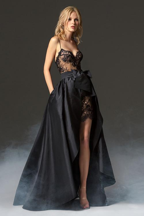 A-line Spaghetti Straps Sweetheart Sleeveless Bow(s) Lace Long Taffeta Evening Dresses with Detachable Asymmetrical/High Low Skirt