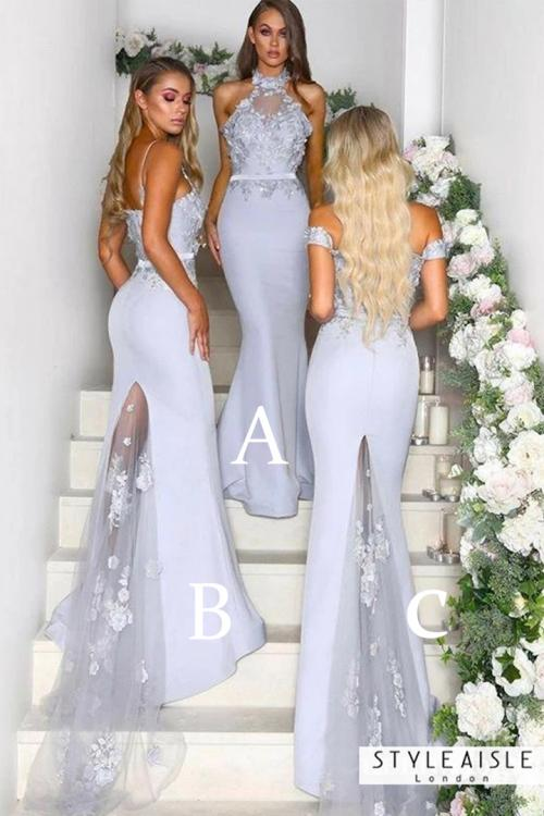 Mermaid Lace Sweep Train Long Satin Bridesmaid Dresses with 3 Styles (A/B/C)