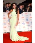 Michelle Keegan Soap Awards 2014 Chic Modern Jewel Neck Sleeveless Sage Long Tight Jersey Prom Dress