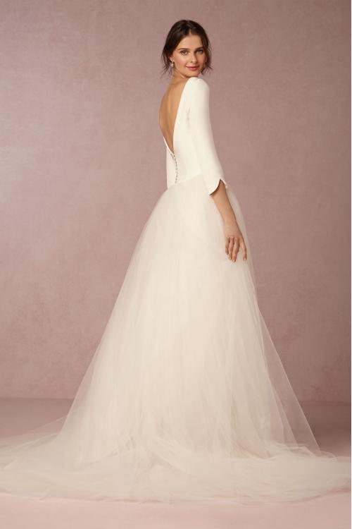 Bateau Neck 3/4 Sleeves Princess Tulle Wedding Dress Lace Embroidery