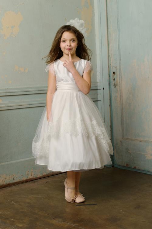 Nectarean Ball Gown Straps Lace Ankle-length Taffeta Flower Girl Dresses