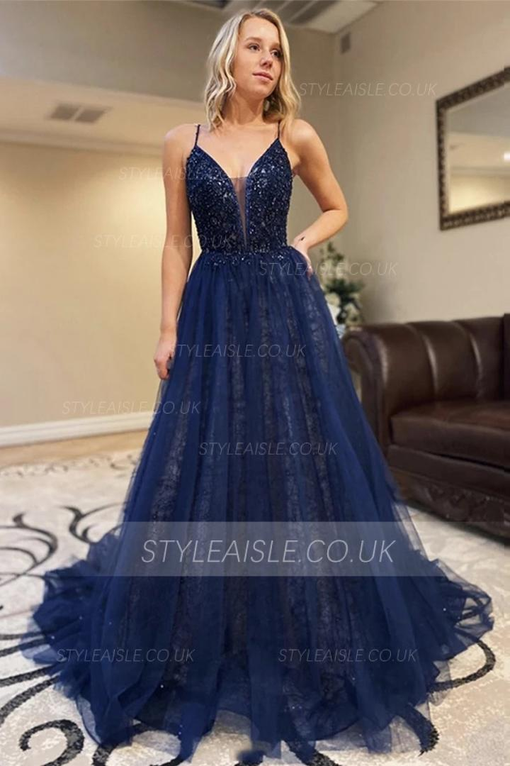 A-line Spaghetti Straps Sleeveless Beading Lace Court Train Long Tulle Prom Dresses