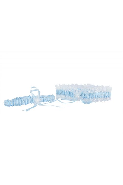 Delicate Ivory And Blue Garter For Girls With Lace Embroider 34*66CM
