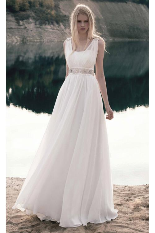 Shoulder Straps Crystal Detailing A-line Chiffon Wedding Dress