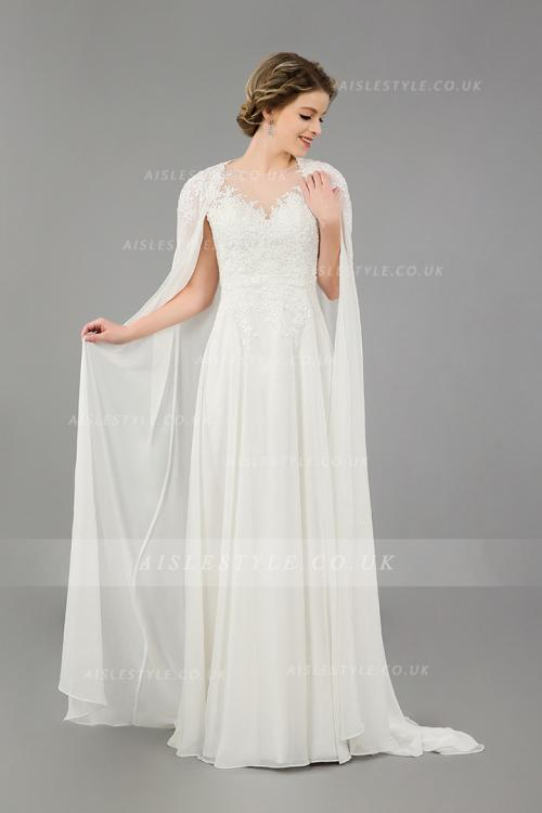 Illusion Neck Lace Appliques Long Ivory Empire A-line Chiffon Beach Wedding Dress with Cape