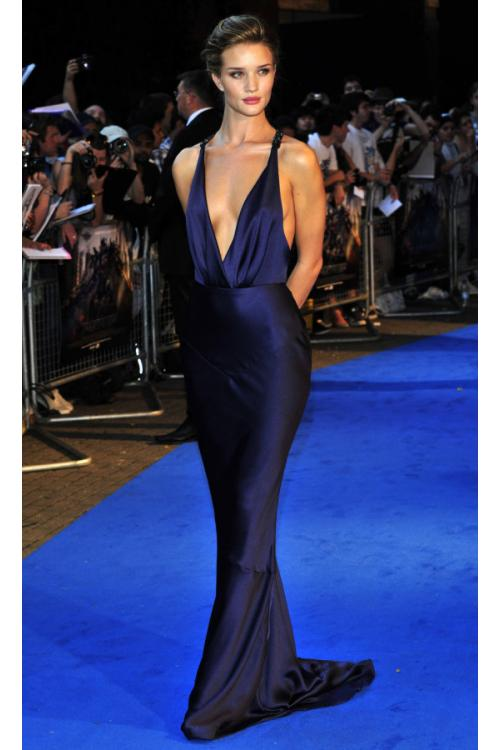 Designer Deep V Neck Rosie Huntington Whiteley Long Backless Navy Eleastic Satin Prom Dress
